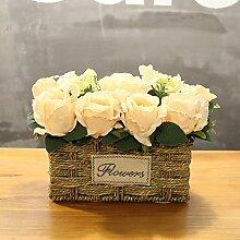 XIN HOME Simulierte künstliche Blume Rose Blume Hochzeit Haus Dekoration handgefertigten Blumenkorb Blumenkorb, Rot Milch weiß Trompete