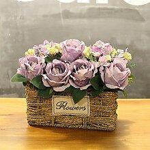 XIN HOME Simulierte künstliche Blume Rose Blume Hochzeit Haus Dekoration handgefertigten Gras Blumenkorb Blumentopf, Dunkelgrau Violett Trompete