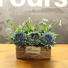XIN HOME Simulierte künstliche Blume Rose blumen Hochzeit Haus Dekoration handgefertigten Gras Blumenkorb Blumentopf, Tinte Grün Blau schneebedeckten Blume Trompete