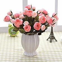 XIN HOME Simulierte künstliche Blume Set Topfpflanzen Rose Blume Set Deko Dekoration Deko Anhänger, Kaffee Bouquet Pink