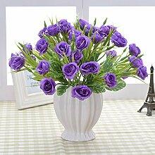 XIN HOME Simulierte künstliche Blume Set Topfpflanzen Rose Blume Set Flower Set Tisch Dekoration Blumen Dekoration, Crystal Rose Lila