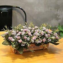 XIN HOME Simulierte Künstliche Blumen im Europäischen Stil Zaun Pastorale frisch Restaurant Wohnzimmer Holz kleine Dekoration Fake Blume, Lila Stern Zaun