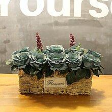 XIN HOME Simulierte künstliche Rose blumen Hochzeit Haus Dekoration handgefertigten Gras Blumenkorb Blumentopf, Hellblau Retro Rose