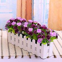 XIN HOME Zaun Blumen Simulation künstliche Blume Zaun Rose Set Anzug Wohnzimmer Möbel Fake kleine Topfpflanzen Simulation künstlichen Blumen Bonsai, 30 cm Zaun Frühling kleine Lila Lila