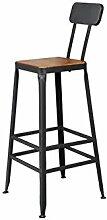 Xin-stool Bügeleisen Hocker/Retro Hochstuhl/Bar Stuhl/home Stuhl Hocker (größe : 42*42*65CM, stil : Holz)