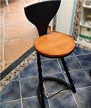Xin-stool Country Style, kreative Retro Holz Bar Stühle/Bar Stühle/hohen Hocker, Höhe: 103CM, Hocker Durchmesser: 36CM (Farbe : Schwarz)