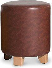 Xin-stool Einfacher Massivholz kleiner Hocker/Wohnzimmer Hocker/Leder Hocker/Kissen Hocker (Farbe : Braun, größe : 29*35CM)