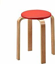 Xin-stool Home, Mode einfach, kreative Massivholz kleine Hocker/Tisch hohen Hocker (Farbe : Rot)