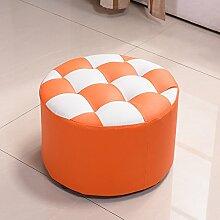 Xin-stool Kleine Hocker/Wohnzimmer Haus Mode kreative Massivholz Hocker/Wechsel Schuh Hocker (Farbe : Orange)