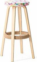 Xin-stool Massivholz Bar Stuhl/Runde hohen Hocker/Bar Hocker/Home Bar Stuhl/Bar Stühle (Farbe : Holzfarbe, stil : C)