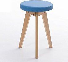 Xin-stool Mode kleine Bank/kreativen Hocker/einfache Hocker/Massivholz Hocker Hause/Esstisch Hocker (Farbe : Blau, stil : A)