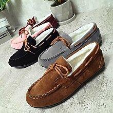 XING GUANG Frauen Füße Flacher Mund Plus Samt Erbsen Schuhe Flach Bogen Dekoration Warme Herbst Und Winter Schuhe Hause Baumwolle Schuhe,Brown
