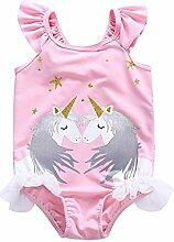 XING GUANG Mädchen Bademode Neue Explosive Kinder Sonnenschutz Kleidung Siamesische Baby Einhörner Strand Tragen,Pink(110)