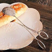 Xing Lin Salat Pizza Steak Klemme Retro Palace Geschnitzten Essen Brot Clip Clip Bäckerei Bäckerei Grill Clip, Silber Runde Kuchen Clip