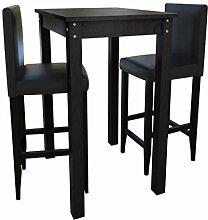 Xinglieu Bartisch Set mit 2 Stühlen, Schwarz