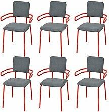 XINGLIEU Esszimmerstühle 6 Stk. Essstühle Rot