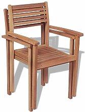 Xingshuoonline Gartenstühle Stapelbar 2 STK. Teak