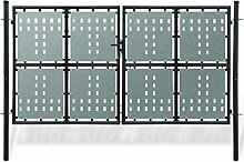 Xingshuoonline Gartentor schwarz Doppeltür