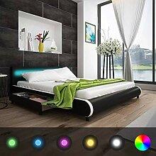 Xingshuoonline Kunstlederbett mit LED-Beleuchtung