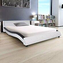 Xingshuoonline Kunstlederbett Schwarz Bett mit
