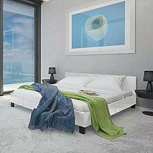 Xingshuoonline Kunstlederbett weiß mit Matratze