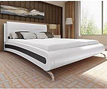 Xingshuoonline Kunstlederbett weiß und schwarz
