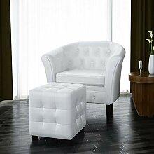 Xingshuoonline Sessel mit Hocker, Kunstleder,