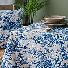 XINGXIAOYU Tischdecke Abwaschbar,Vintage Blau