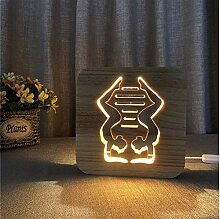 XINGXIAOYU Yoga Lampe Gym Holz 3D Illusion Lampe