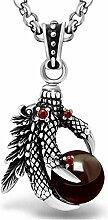 Xinmaoyuan Persönlichkeit Drachenkralle Halskette Anhänger Retro Eagle Pfote Schwarz Rot Edelstein Anhänger persönlichem Schmuck Geburtstag Geschenk