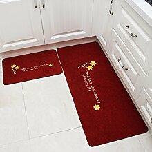 XINQING matte matte hall küche teppich matte matte öl absorbierende sanitär - bad zu hause 50 x 80 cm,zwei stücke von kleidung: red