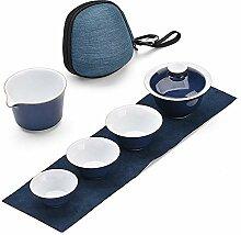 XinQuan Wang Reise-Tee-Set aus Keramik, blaue