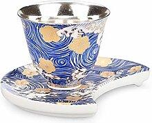 XinQuan Wang Tee-Set aus Keramik, vergoldet und