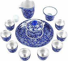 XinQuan Wang Tee-Set aus Porzellan, Blau und Weiß
