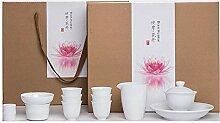 XinQuan Wang Tee-Set aus weißem Porzellan, Kung