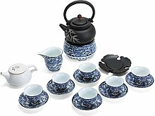 XinQuan Wang Tee-Set mit blau-weißer Emaille,
