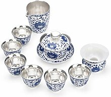 XinQuan Wang Tee-Set mit blauem Silber vergoldetem