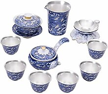 XinQuan Wang Tee-Set mit blauen und weißen Wellen