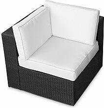 XINRO (1er) Polyrattan Lounge Eck Sessel - Gartenmöbel Ecksessel Rattan - durch andere Polyrattan Lounge Gartenmöbel Elemente erweiterbar - In/Outdoor - handgeflochten - schwarz