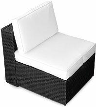 XINRO (1er) Polyrattan Lounge Sessel - Mittelteil - Gartenmöbel Polyrattan Sessel - durch andere Polyrattan Lounge Gartenmöbel Elemente erweiterbar - In/Outdoor - handgeflochten - schwarz