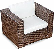 XINRO® 1er Premium Lounge Sessel - Lounge Sofa Gartenmöbel Günstig Loungesofa Polyrattan XXL Rattan Sessel - in/Outdoor - handgeflochten - mit Kissen - Braun