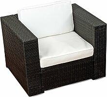 XINRO® 1er Premium Lounge Sessel - Lounge Sofa Gartenmöbel günstig Loungesofa Polyrattan XXL Rattan Sessel - In/Outdoor - handgeflochten - mit Kissen - schwarz