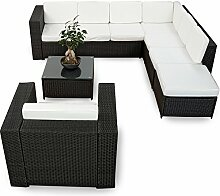 XINRO 22tlg. Polyrattan Gartenmöbel Lounge Set (Modell 2017) Polyrattan Sitzgruppe Loungemöbel + 1x Lounge Sessel - Rattan Garnitur Sitzgruppe - In/Outdoor - handgeflochten - schwarz