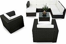 XINRO 25tlg. Deluxe Lounge Garnitur Set Gruppe Polyrattan Sitzgruppe Gartenmöbel Loungemöbel + 2x Lounge Sessel - Rattan Garnitur Sitzgruppe - In/Outdoor - handgeflochten - schwarz