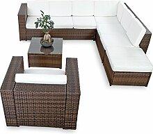 XINRO XXL 22tlg. Polyrattan Lounge Möbel Set Gartenmöbel günstig + 1x (1er) Lounge Sessel - Lounge Set Polyrattan Sitzgruppe Garnitur - In/Outdoor - mit Kissen - handgeflochten - braun