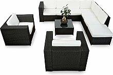 XINRO XXXL 25tlg. Polyrattan Gartenmöbel Lounge Möbel günstig + 2x (1er) Lounge Sessel - Gartenmöbel Lounge Set Rattan Sitzgruppe Garnitur - In/Outdoor - mit Kissen - handgeflochten - schwarz