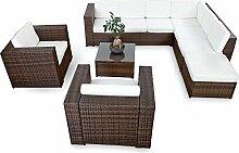 XINRO XXXL 25tlg. Polyrattan Gartenmöbel Lounge Möbel günstig + 2x (1er) Lounge Sessel - Gartenmöbel Lounge Set Rattan Sitzgruppe Garnitur - In/Outdoor - mit Kissen - handgeflochten - braun