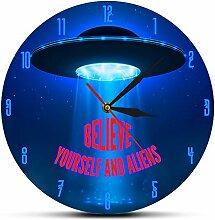 XINTANG Wanduhr Glauben Sie Sich Und Alien Wanduhr