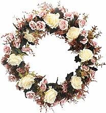 XIUER Rose Blumen Zweig Kranz, 50cm,