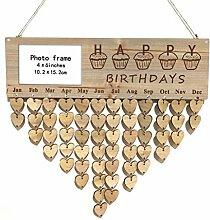 XiuginFU Hölzerne DIY Kalender Hanging-Plakette